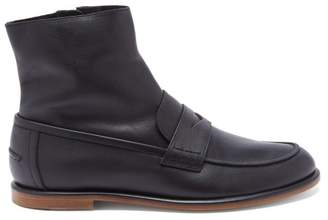 Loewe Penny Loafer Style Leather Boots - Mens - Black