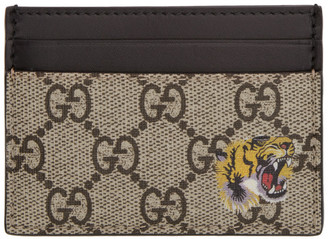 b580129bd1df Gucci Beige GG Supreme Tiger Card Holder