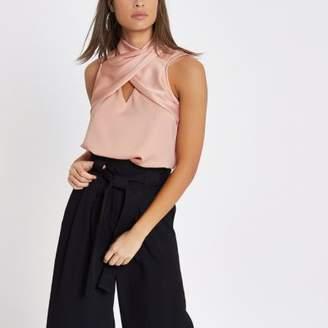 River Island Womens Pink wrap neck sleeveless top