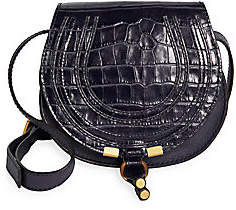 Chloé Women's Marcie Croc-Embossed Leather Saddle Bag