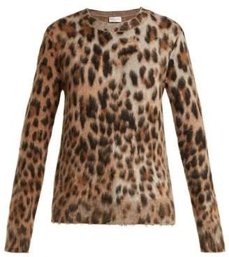 Saint Laurent Leopard Print Mohair Blend Sweater - Womens - Leopard