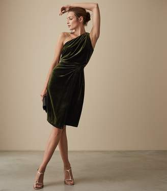 Reiss UNA VELVET STRAPPY BACK COCKTAIL DRESS Dark Green