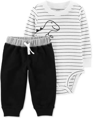 Carter's Baby Boys 2-Pc. Cotton Striped Dinosaur-Print Bodysuit & Jogger Pants Set