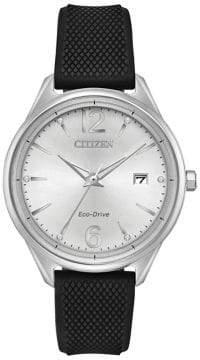 Citizen Eco-Drive Black Textured Silicone Strap Watch