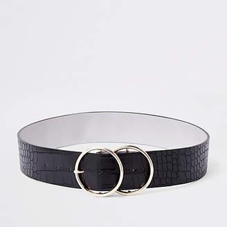 River Island Black croc double ring waist belt