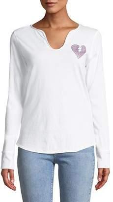 Zadig & Voltaire Split-Neck Embellished Long-Sleeve Shirt