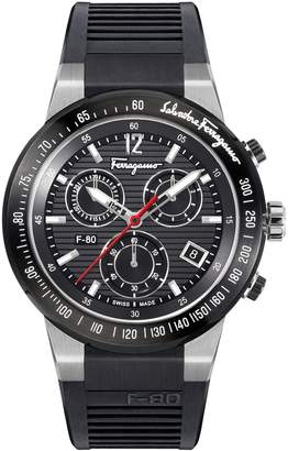 Salvatore Ferragamo F-80 Chronograph Rubber Strap Watch, 44mm