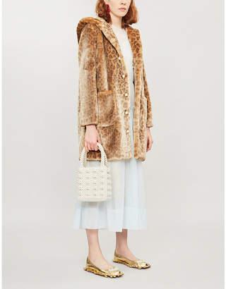 Shrimps Gloria leopard-print faux-fur coat