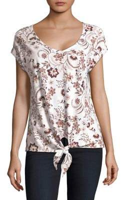Lord & Taylor Petite Tie-Front Floral Cotton Tee