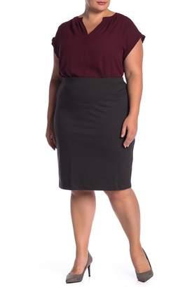 Philosophy Apparel Ponte Midi Pencil Skirt (Plus Size)