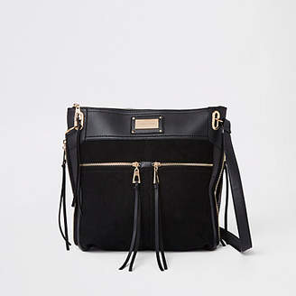 River Island Womens Black double pocket messenger bag