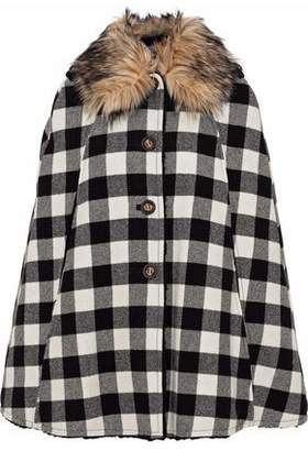 RED Valentino Faux Fur-Trimmed Checked Wool Cape