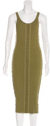 Alexander Wang Lace-Up Rib Knit Midi Dress