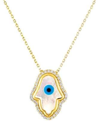 Mother of Pearl Sphera Milano 18K Yellow Gold Vermeil & CZ Hamsa Evil Eye Pendant Necklace