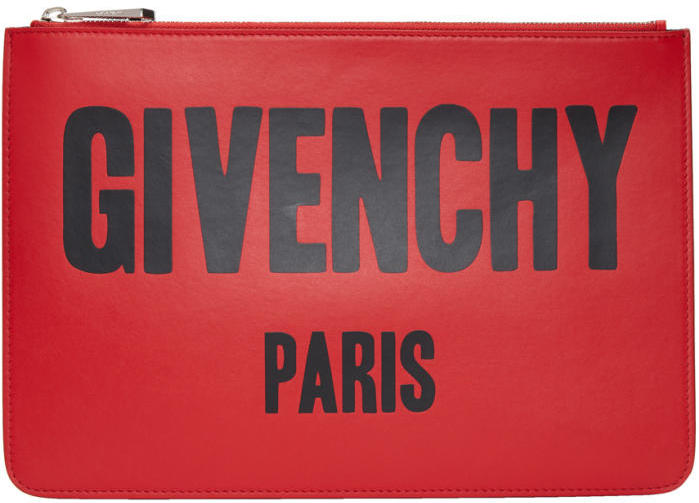 Givenchy Red Medium Logo Pouch