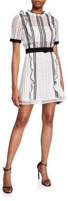 Self-Portrait Monochrome Lace Frill Mini Dress