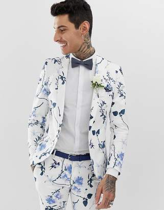 Twisted Tailor super skinny suit jacket in white with floral print