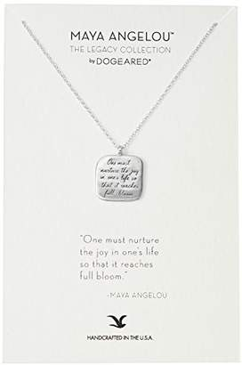 Dogeared Maya Angelou One Must Nurture The Joy Quote Square Sterling Pendant Necklace