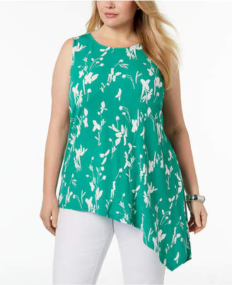 Alfani Plus Size Printed Asymmetrical-Hem Top