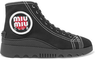 Miu Miu Logo-appliquéd Canvas High-top Sneakers - Black