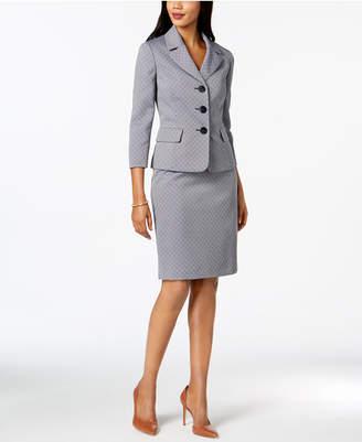 Le Suit Printed 3/4-Sleeve Skirt Suit