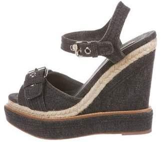 Miu Miu Denim Espadrille Sandals