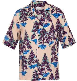 Acne Studios Pine Print Short Sleeved Crepe Shirt - Mens - Pink Multi