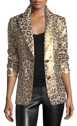 Berek Plus Size Leopard-Print Coated Blazer