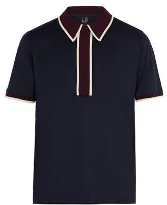 Dunhill Contrast Panel Cotton Polo Shirt - Mens - Navy Multi