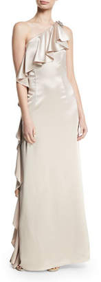 Zac Posen Anne Asymmetric-Neck Ruffled Gown