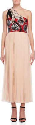 Emilio Pucci Beaded One-Shoulder Chiffon Dress