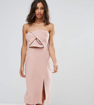 True Decadence Petite Exagerated Bow Detail Bandeau Midi Dress