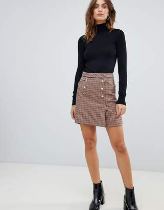Oasis a-line mini skirt with button front in check
