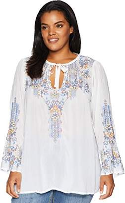 Johnny Was Women's Plus Size Rayon Tie Neck Long Sleeve Embroidered Blouse