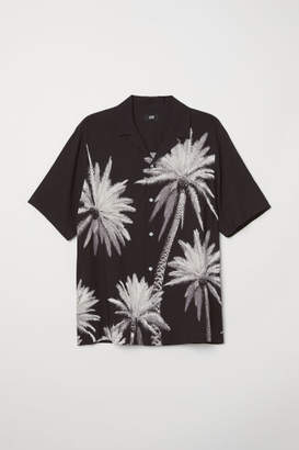 H&M Relaxed Fit Short-sleeve Shirt - Black