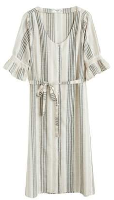 MANGO Striped ruffle dress