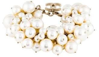 Chanel Faux Pearl Cluster CC Bracelet