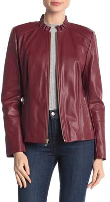 Cole Haan Ruffle Collar Faux Leather Jacket