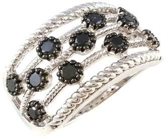 Savvy Cie Sterling Silver Black Diamond Multi-Row Ring - 1.00 ctw