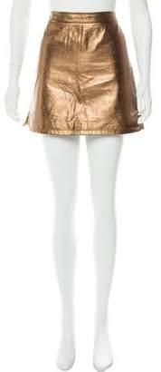 Rebecca Minkoff Metallic Leather Mini Skirt