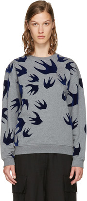 McQ Alexander McQueen Grey & Navy Swallows Sweatshirt $330 thestylecure.com