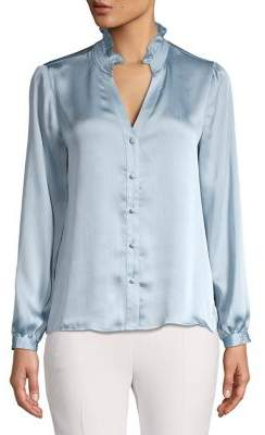 Vince Camuto Petite Ruched Ruffled V-Neck Satin Blouse