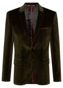 HUGO Extra-slim-fit jacket in cotton velvet
