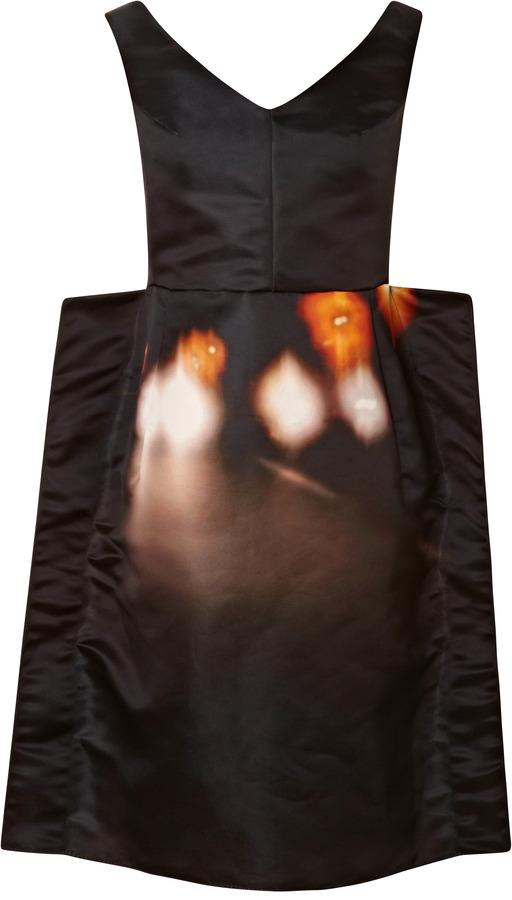 Carven Off the Shoulder Printed Satin Dress