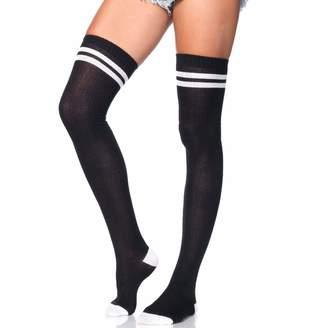 9ef2c000b0f Leg Avenue Womens Two Striped Ribbed Athletic Thigh Highs