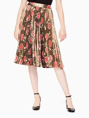Kate Spade Hazy Rose Pleated Lame Skirt, Black - Size 0