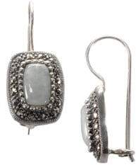 Lord & Taylor Sterling Silver And Marcasite Rectangle Earrings