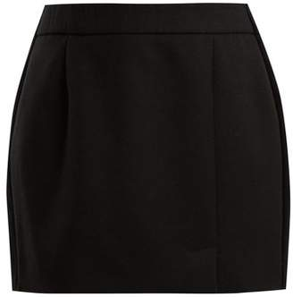 Bella Freud Alexa Side Striped Wool Blend Mini Skirt - Womens - Black