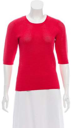 Yigal Azrouel Mesh-Accented Short Sleeve Top