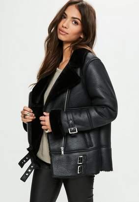 Missguided Black Aviator Jacket